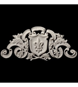 CP-120 Fleur De lis Shield with Crest and Ribbons Resin Centerpiece