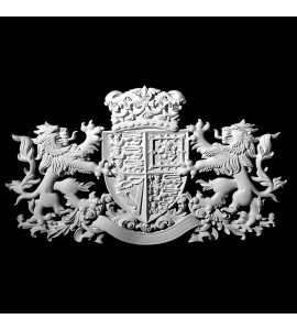 CP-160 Series Coat of Arms Crowned Shield with Lions Resin Centerpiece