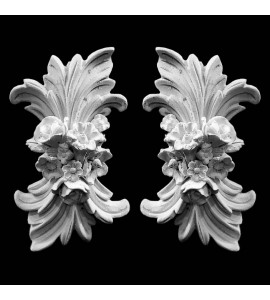 OL-103-EXT Acanthus Leaf With Flowers and Ribbon Resin Onlay