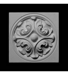 PB-293 Resin Plinth Block with Circular Leaf Rosette Center